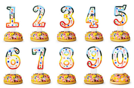 0 1 year: Birthday candles isolated on the white