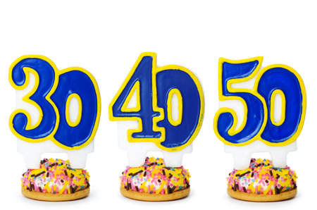 number 50: Birthday candles isolated on the white