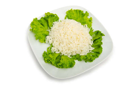 Plain rice served in the plate photo