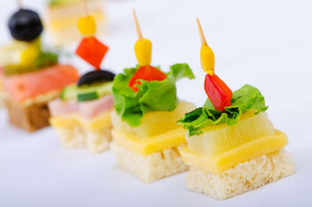 cheese platter: Selection of various canape