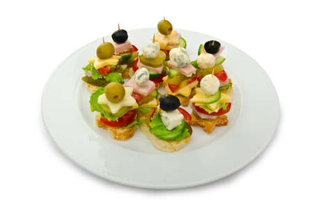 food buffet: Selection of various canape Stock Photo