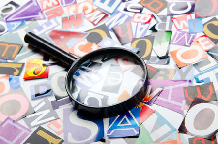 Cut letters from newspapers and magazines photo