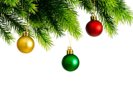 Christmas concept with baubles on white Stock Photo