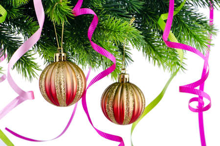 Christmas concept with baubles on white Stock Photo - 10660843