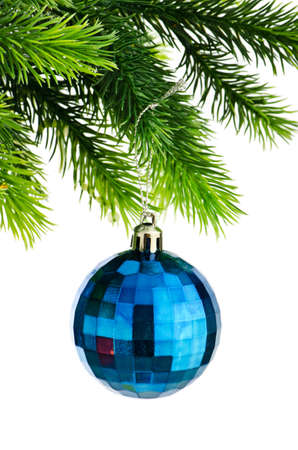 Christmas concept with baubles on white photo