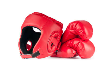 combative: Sporting concept with box items Stock Photo
