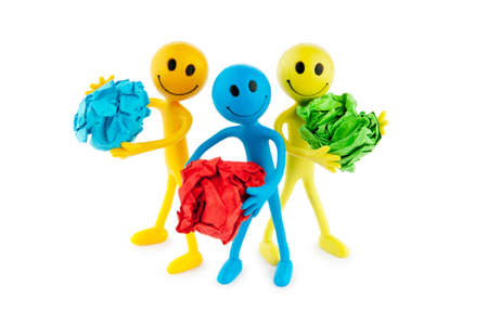 tabassum: Smilies in recycling concept on white Stock Photo