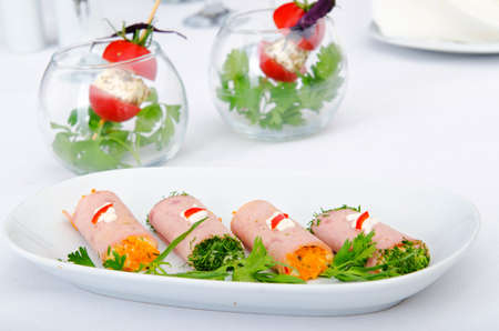 Canapes served in the plate Stock Photo - 10674777