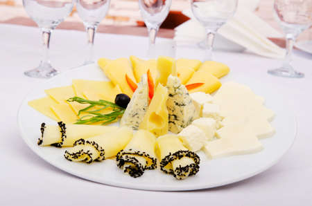 Cheese platter with selection photo