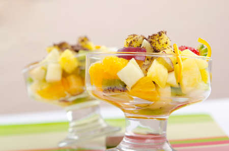 Fruit dessert in the plate photo