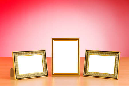 Photo frames on the table photo
