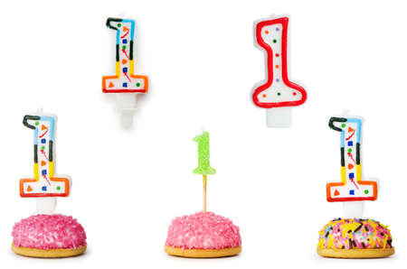 Birthday candles isolated on the white photo