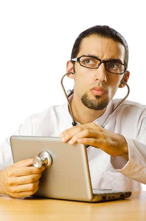 Concept of computer diagnostics on white Stock Photo - 10719252