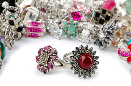 Selection of many precious rings photo
