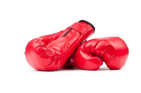 gant blanc: Gants de boxe rouges isol� sur blanc