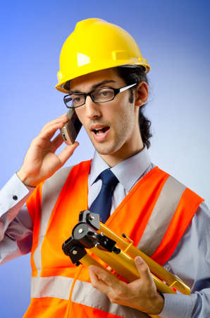 Young construction worker with hard hat Stock Photo - 10819094