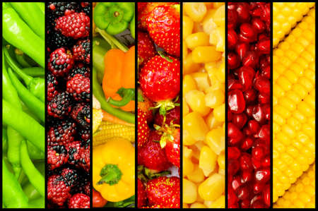 fruit and vegetables: Collage of many fruits and vegetables