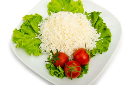 Plain rice served in the plate