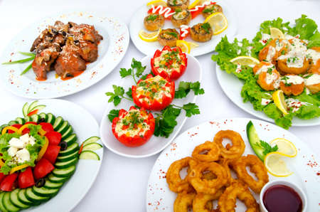 buffet table: Table served with tasty meals