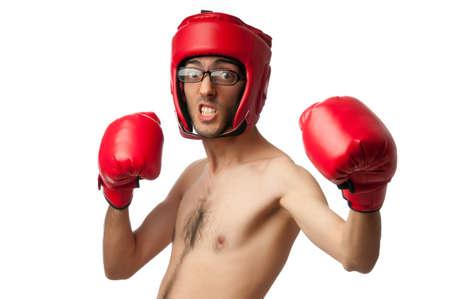 boxeadora: Boxeador divertido aislado en blanco
