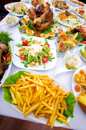 party food: Table served with tasty meals