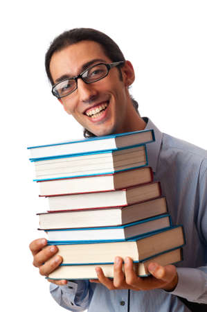 Student with stack of books on white photo