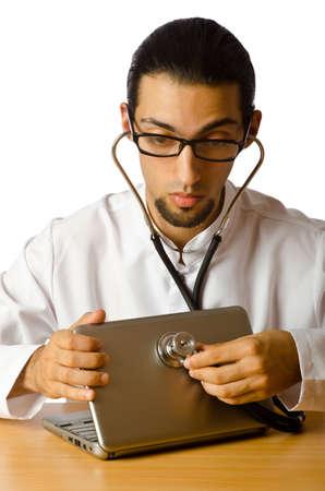 Concept of computer diagnostics on white photo