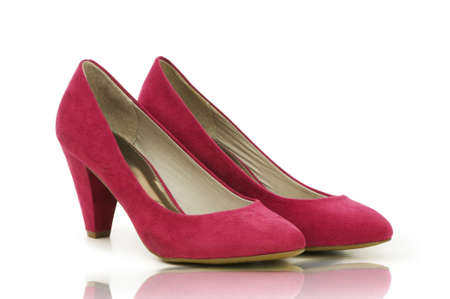 Elegant pink shoes on the white  photo