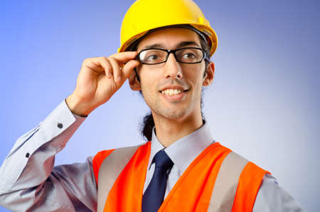 Young construction worker with hard hat Stock Photo - 10925302