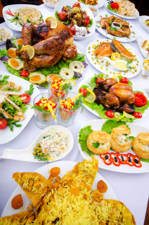 Table served with tasty meals photo