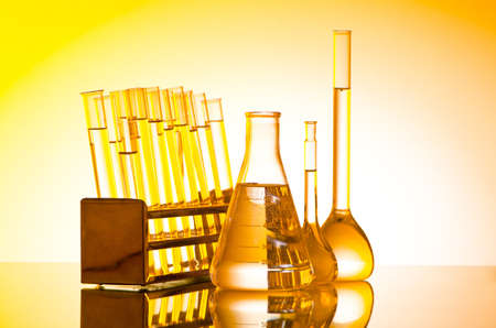 retort: Chemical lab with glass tubing Stock Photo