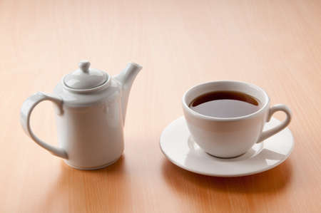 boiling pot: Tea on the wooden table