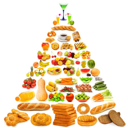 nutrition health: Food pyramid with lots of items