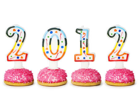 2012 made with cake candles Stock Photo - 10959678