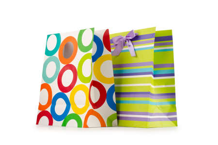 gift bag: Shopping concept with bag on white