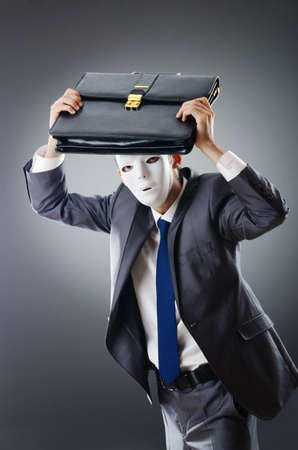 Industrial espionate concept with masked businessman Stock Photo - 10959932