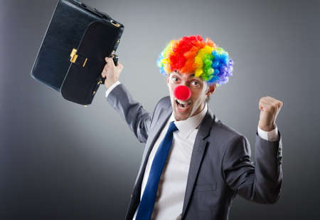 business costume: Clown businessman in funny business concept