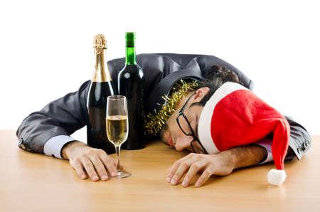 Dronken zakenman na office christmas party Stockfoto