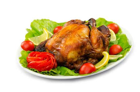 거위: 터키 구이와 접시에 제공