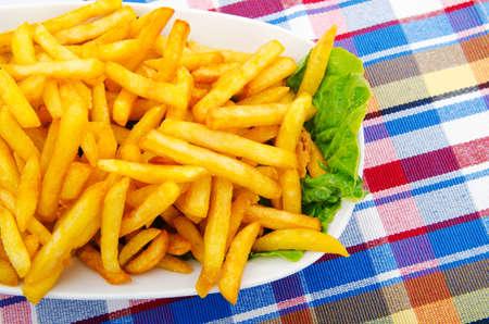 papas fritas: Primer plano de papas fritas franc�s