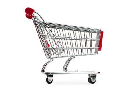 carro supermercado: Carrito contra el fondo blanco Foto de archivo