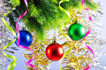 Baubles on christmas tree in celebration concept Stock Photo - 10957972