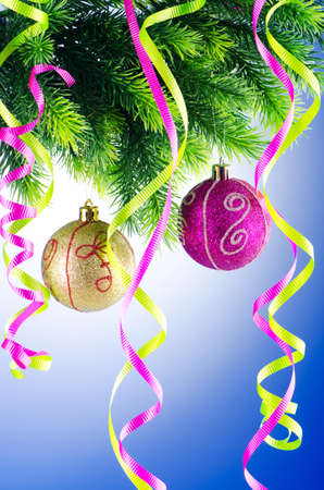 Baubles on christmas tree in celebration concept Stock Photo - 10957949