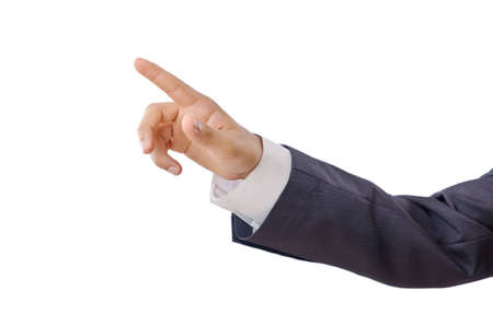 Businessman pressing buttons in the air photo