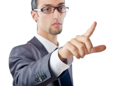 Businessman pressing buttons in the air Stock Photo - 10968761