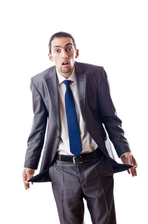 hands in pockets: Businessman with empty pockets Stock Photo