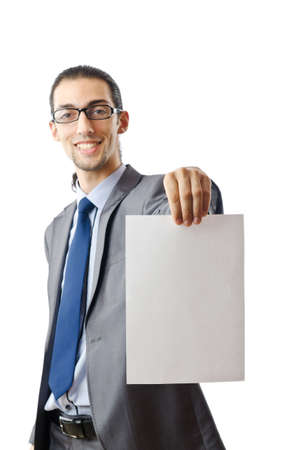 holding paper: Businessman holding blank message