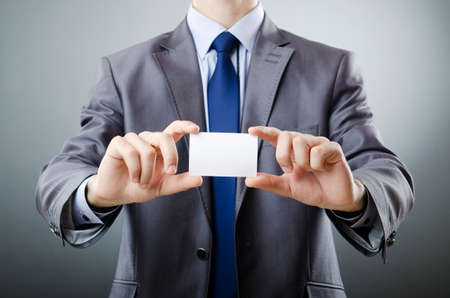 Businessman holding blank message Stock Photo - 10960009