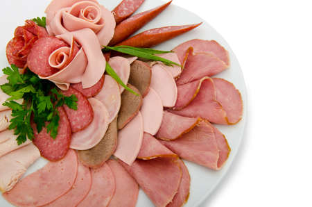 carnes y verduras: Carne de selecci�n en la placa Foto de archivo