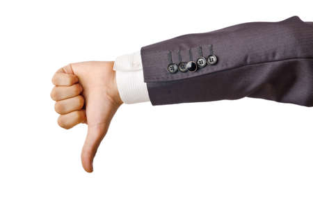 Businessman holding empty hands photo
